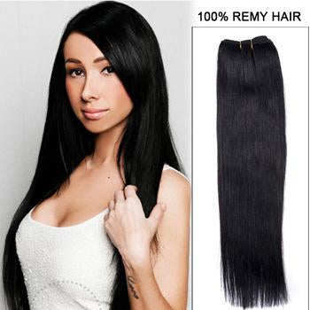 16 – 26 Inch Pre-Colored Human Remy Hair Extensions Straight (#1 Jet Black)