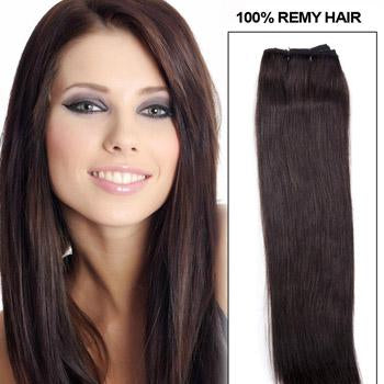 16 – 26 Inch Pre-Colored Human Remy Hair Extensions Straight (#2 Dark Brown)