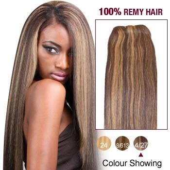 16 – 26 Inch Pre-Colored Human Remy Hair Extensions Straight (#4/#27 Strawberry Blonde)