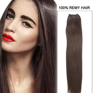 16 – 26 Inch Pre-Colored Human Remy Hair Extensions Straight (#4 Medium Brown)