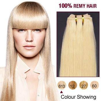 16 – 26 Inch Pre-Colored Human Remy Hair Extensions Straight (#613 Bleach Blonde)