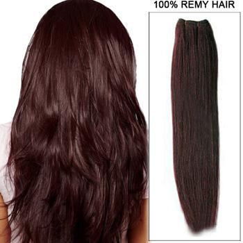 16 – 26 Inch Pre-Colored Human Remy Hair Extensions Straight (#99J Burgundy)