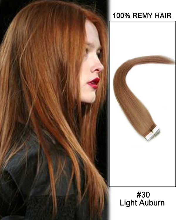16 – 24 Inch Tape In Human Remy Hair Extensions Straight (#30 Light Auburn)