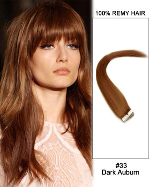 16 – 24 Inch Tape In Human Remy Hair Extensions Straight (#33 Dark Auburn)