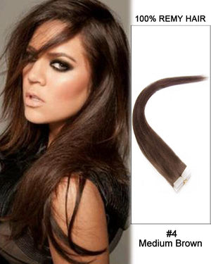 16 – 24 Inch Tape In Human Remy Hair Extensions Straight (#4 Medium Brown)