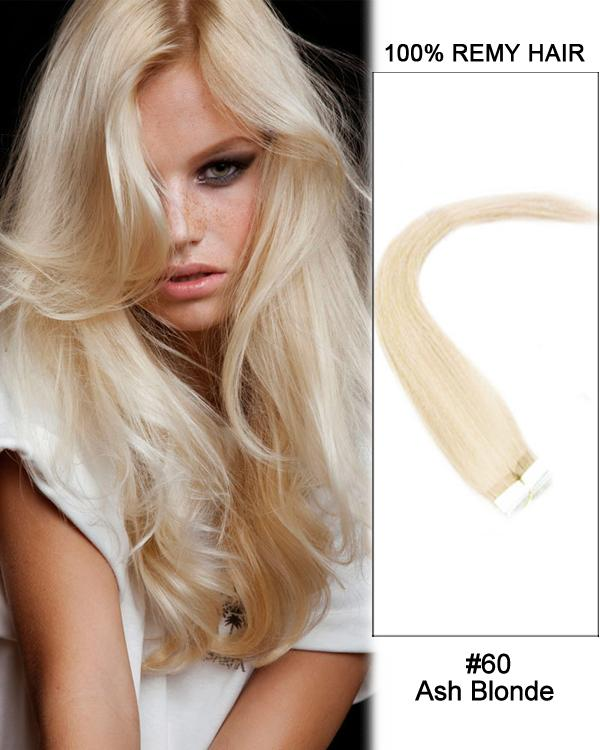 16 – 24 Inch Tape In Human Remy Hair Extensions Straight (#60 White Blonde)