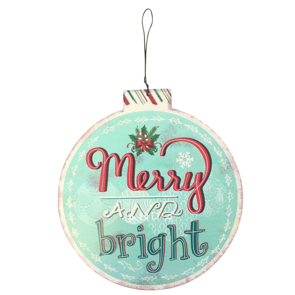 Large Merry & Bright Bauble Metal Hanger Image