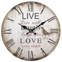 Rustic Effect Live Well, Laugh Often, Love Much Wall Clock Image