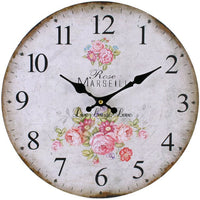 Shabby Chic Pink Rose Live, Laugh, Love Wall Clock Image