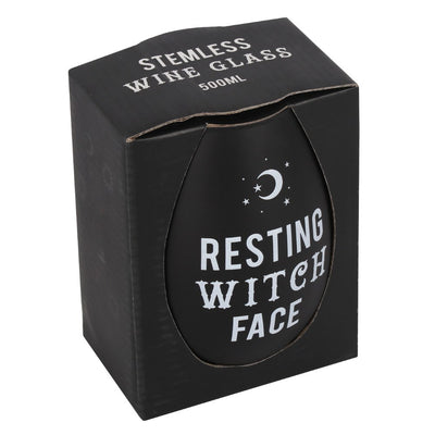 Resting Witch Face Stemless Wine Glass Image