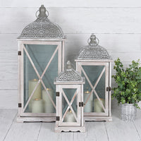 Set of 3 Grey Lanterns Image