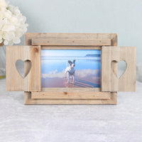 Driftwood Photo Frame With Heart Shutters Image