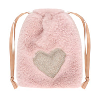 Plush Pink Heart Mini Drawstring Bag Image
