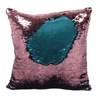 Reversible Blue and Pink Sequin Filled Cushion Image