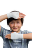 Fingerless Gloves for kids - kid showing gloves and protecting face