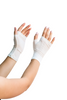Adult fingerless gloves against white background
