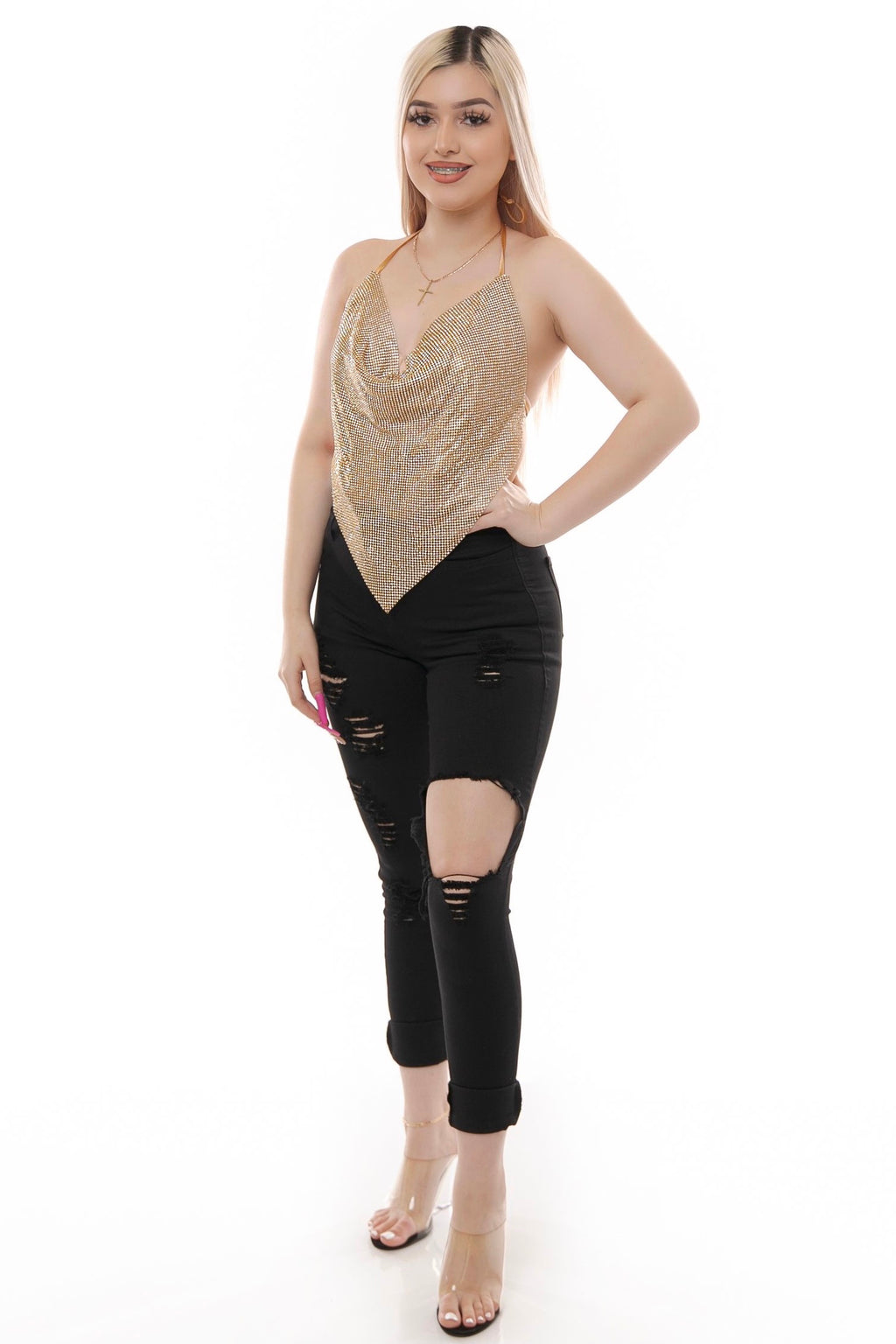 Night Out Top- Gold
