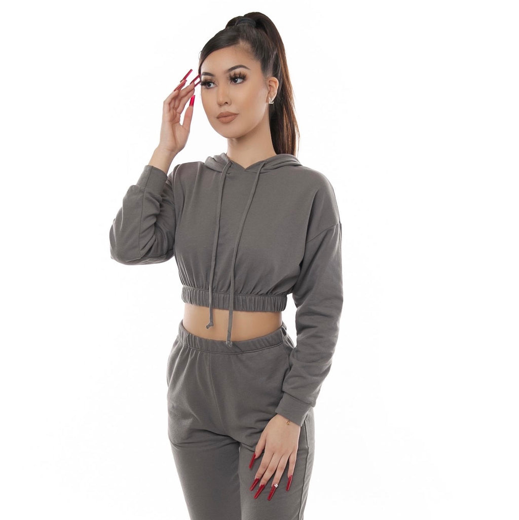Jerry Hoodie Crop Top- Charcoal