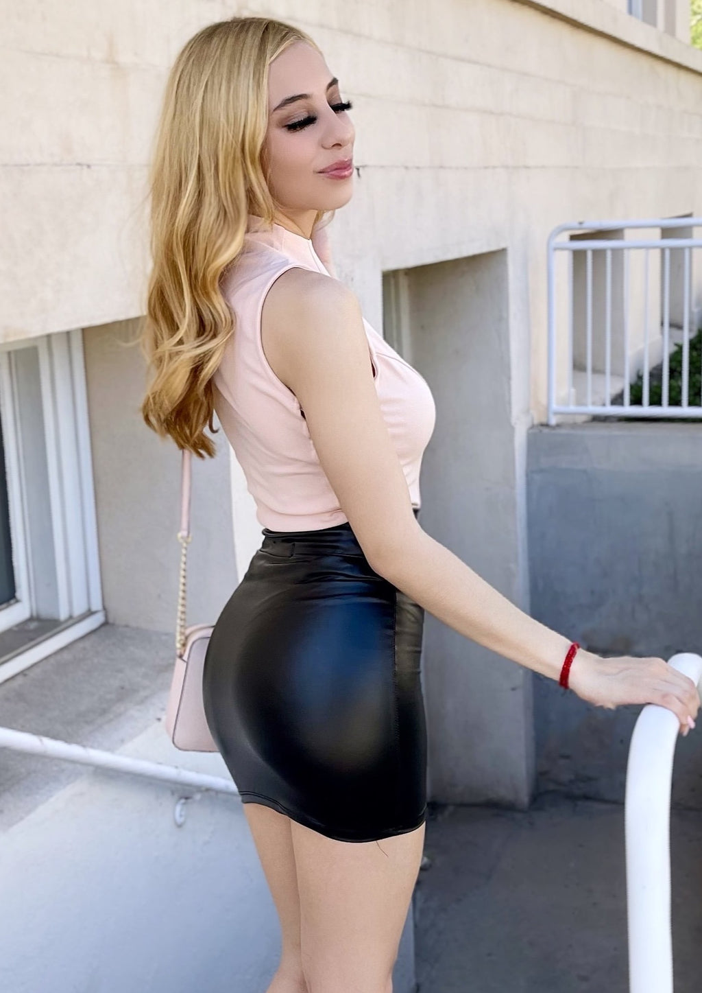 Alyza Leather Skirt- Black