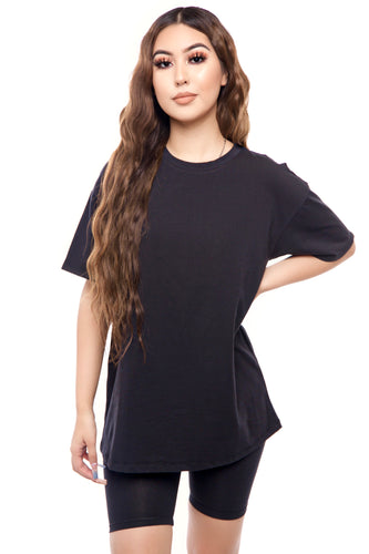Beret Over Sized T-Shirt- Black