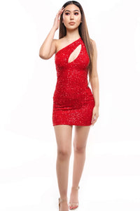 Adele Sequin Dress- Red