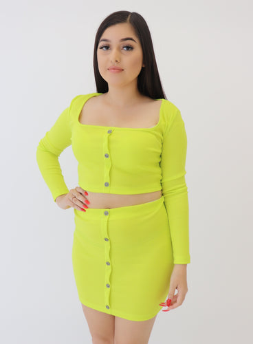 Achieve Skirt Set- Lime