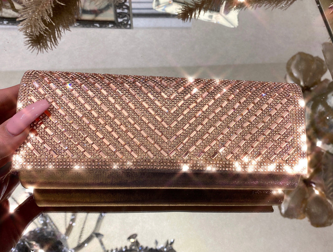 Date Night Clutch Bag- Rose Gold