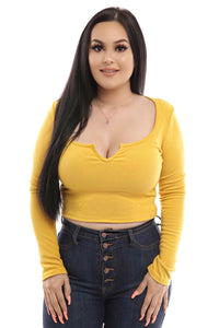 Leah Crop Top- Mustard