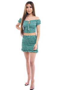 Melina Skirt Set- Green