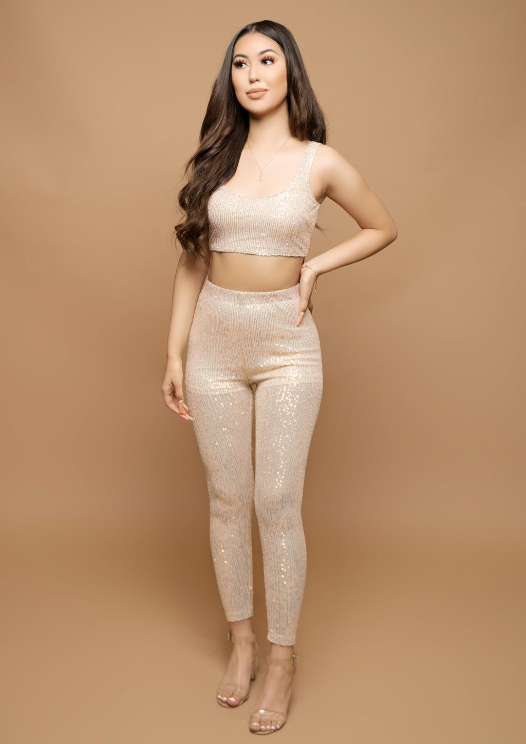 Melanie Two Piece Set- Nude/Rainbow