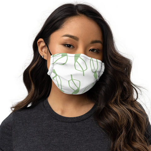 photo of Falling Leaves Premium Face Mask on female face