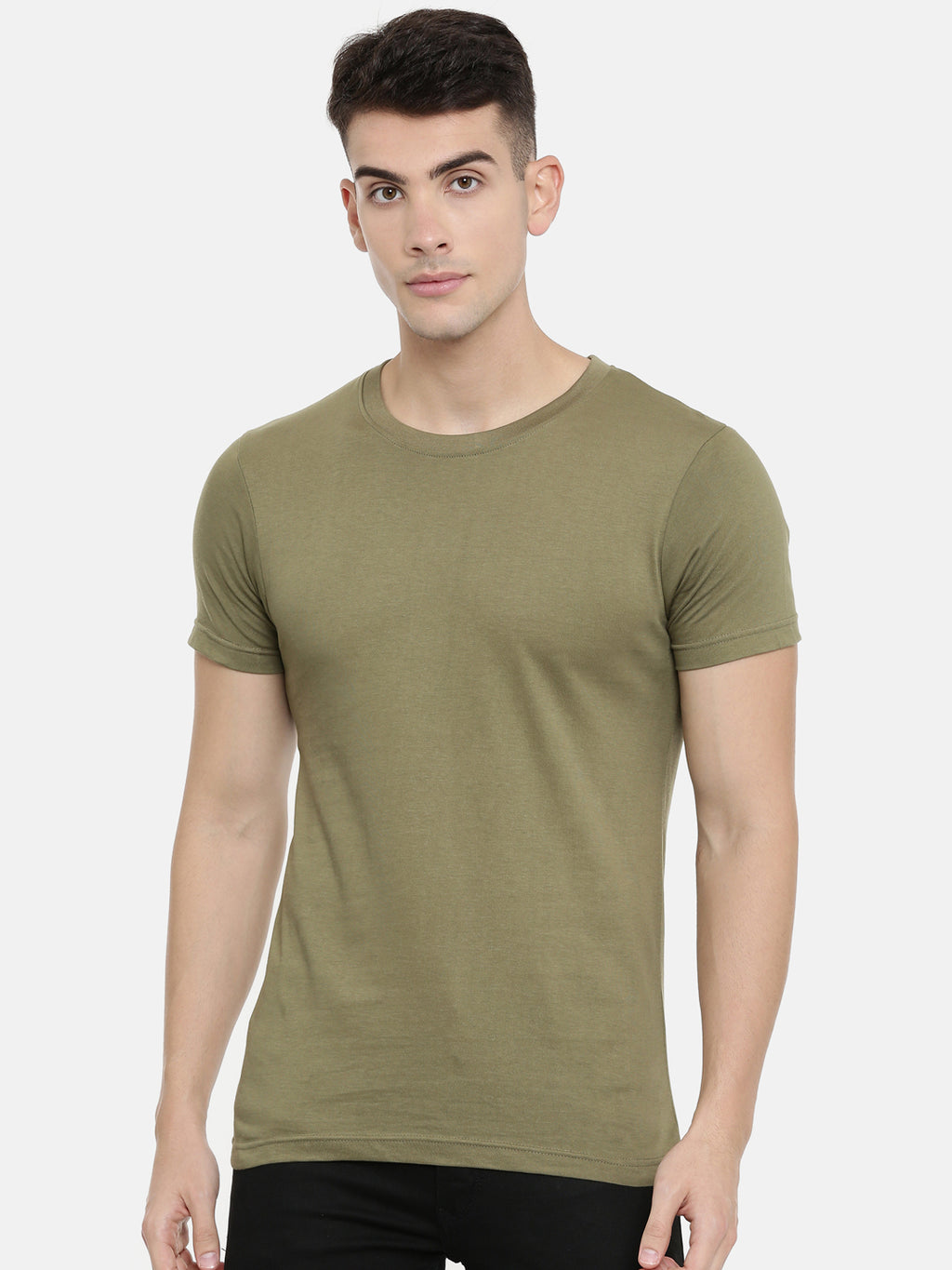 Olive green Round Neck Half Sleeve T-shirt Baromin