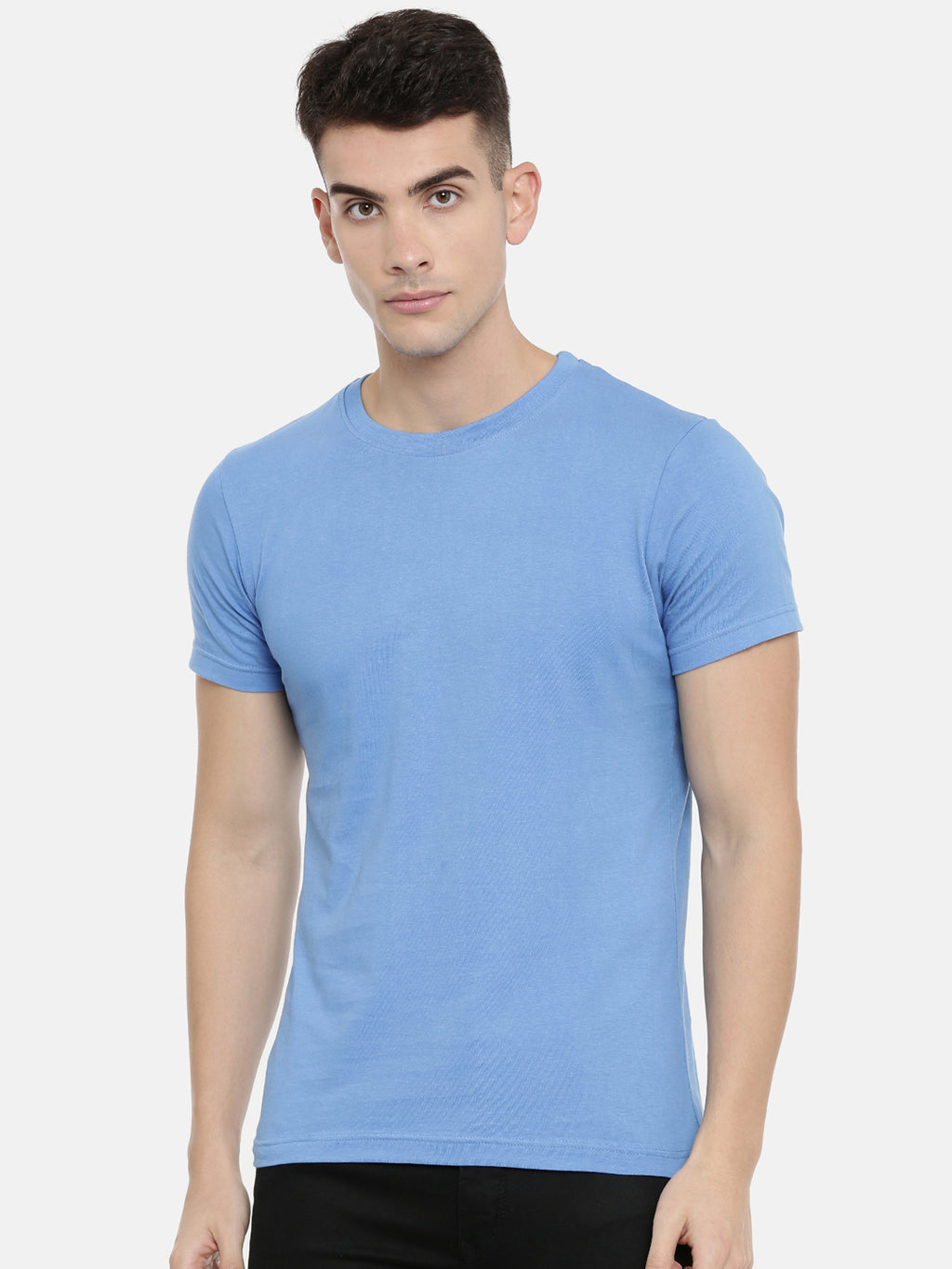 Sky Blue Round Neck Half Sleeve T-shirt Baromin