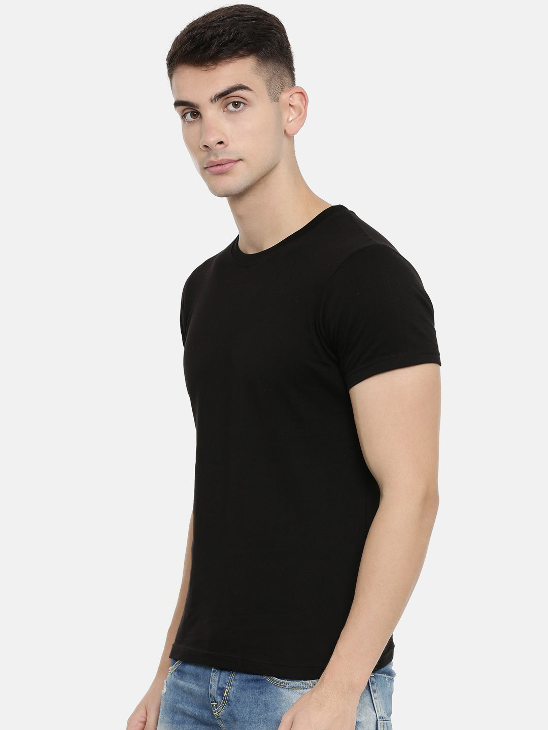 Black Round Neck Half Sleeve T-shirt Baromin