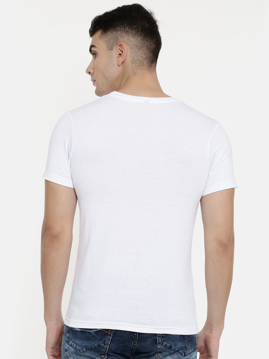 White Round Neck Half Sleeve T-shirt Baromin