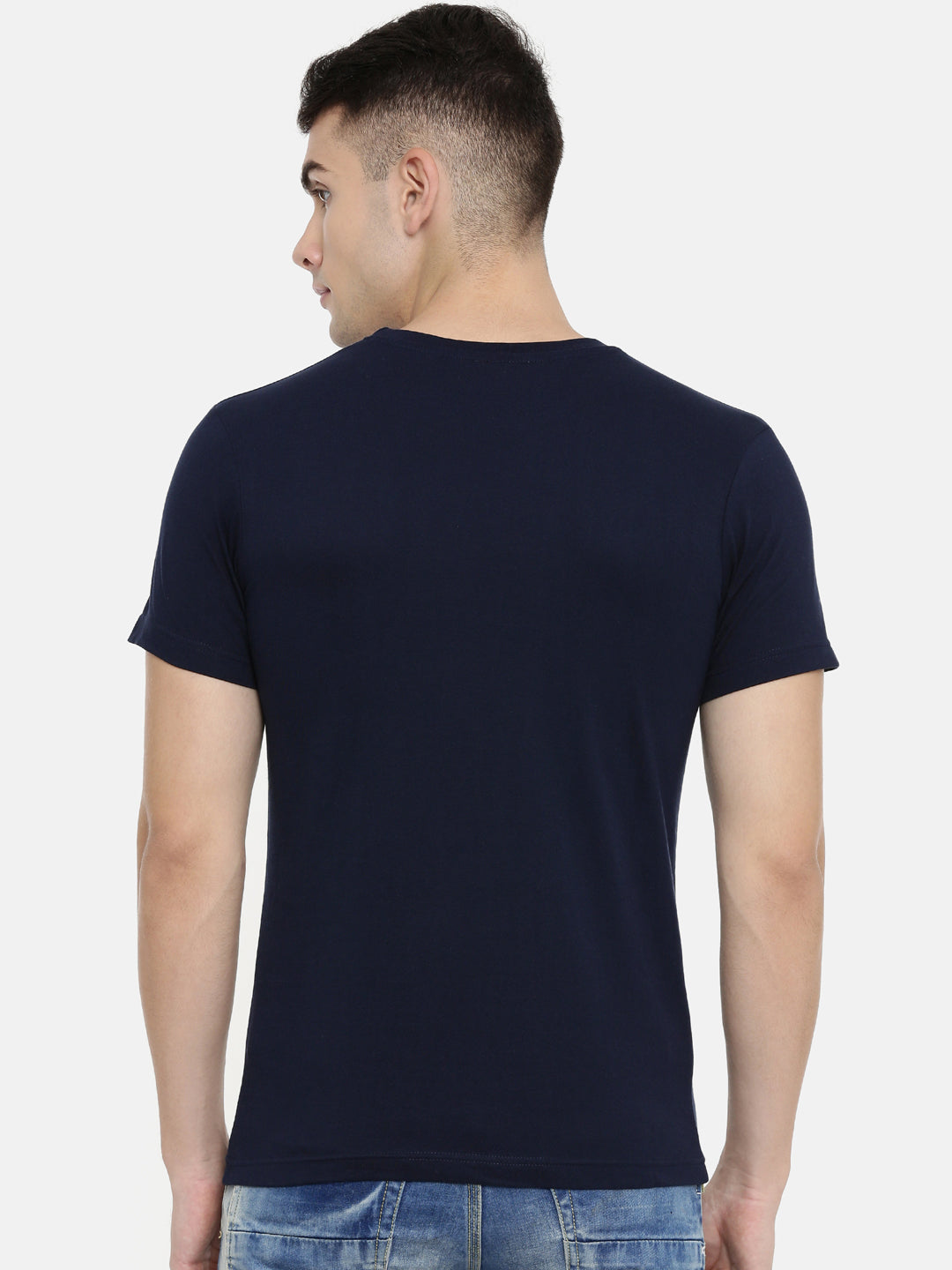 Navy Blue Round Neck Half Sleeve T-shirt Baromin