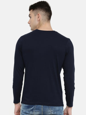 Navy Blue Blue Full Sleeves T-shirt Baromin