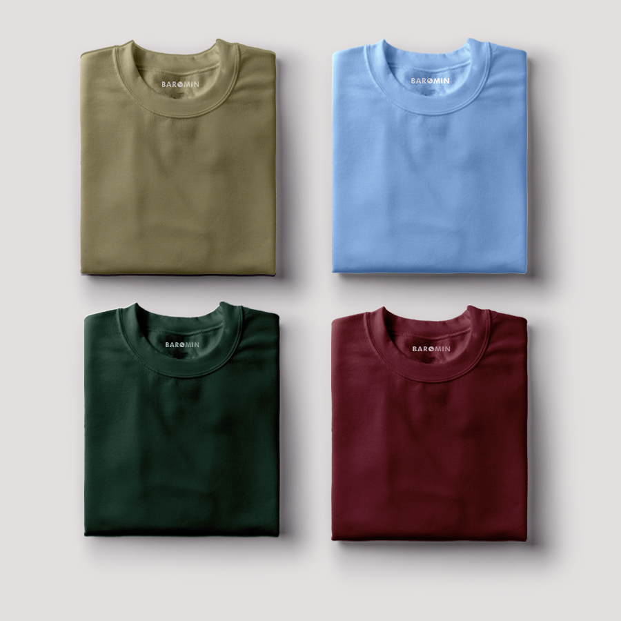 Pack Of 4 Round Neck Half Sleeve T-shirt Baromin