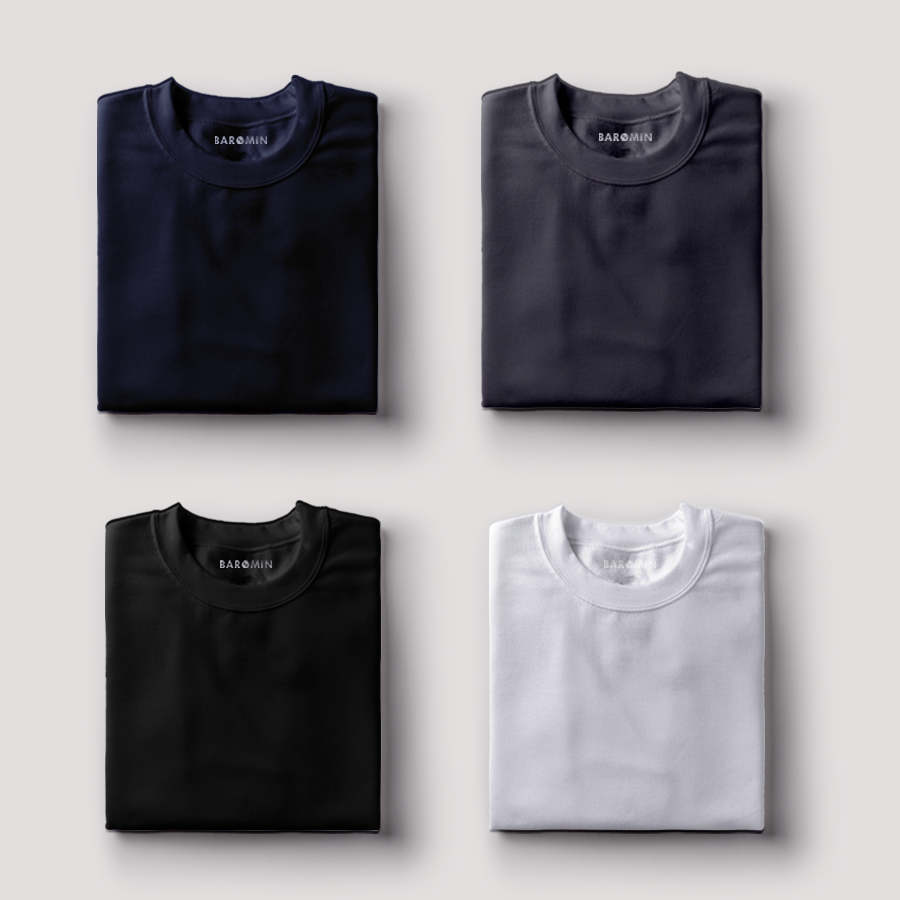 Pack of 4 T-shirts (Ashen grey, Raven black, Chalky white, Ethereal Blue) -SLIM FIT