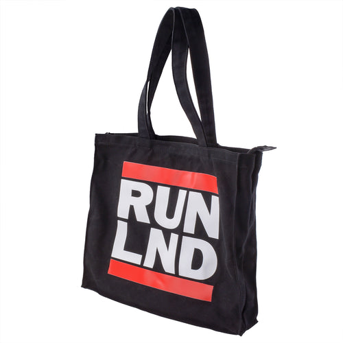 RUN LND Canvas Tote Bag with Zipper