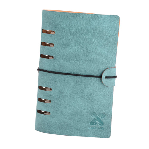 CONFLUX A6 Binder Organizer Notebook, Refillable Diary Faux Leather 6-Ring Binder Notebook