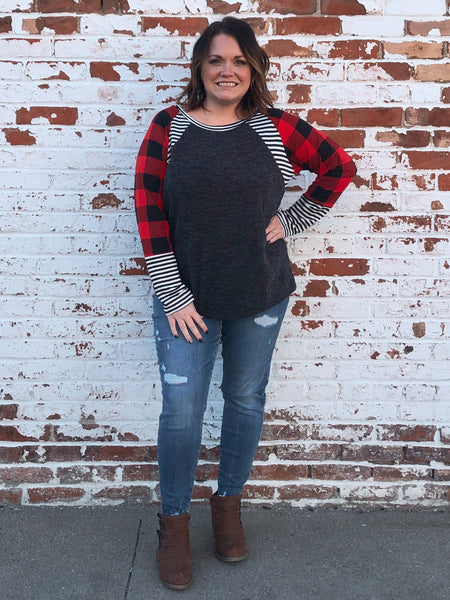 Buffalo Plaid, Stripe and Black Color Block Plus