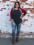 Buffalo Plaid, Stripe and Black Color Block