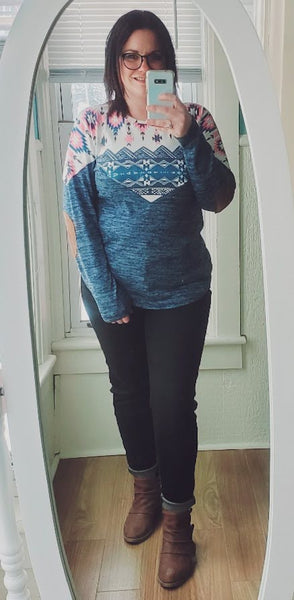 Aztec and Suede Terry Sweater
