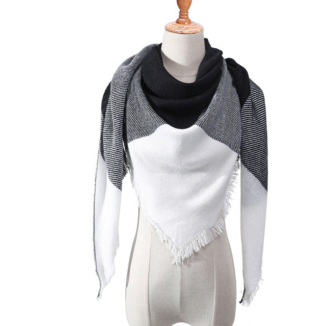 Knitted Spring Plaid Warm Cashmere Scarves