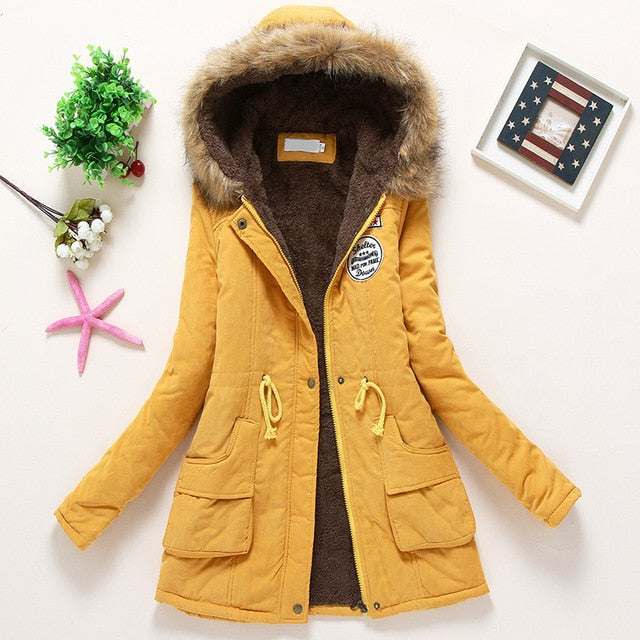 Winter thick Warm Hooded Pockets Slim Faux Fur Parka Jacket