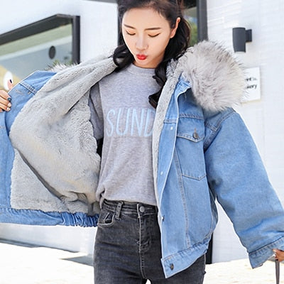 Long Denim Women Winter Hardy Jackets
