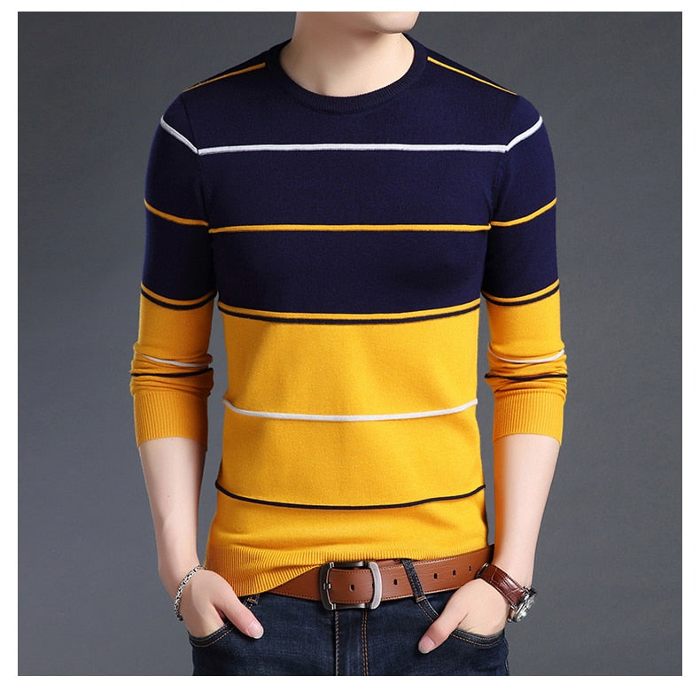 Pullover Striped Slim Fit Jumpers Knitred Casual Sweater
