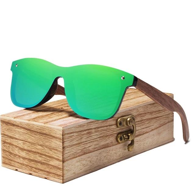 Wood Mirror Lens Sun Glasses