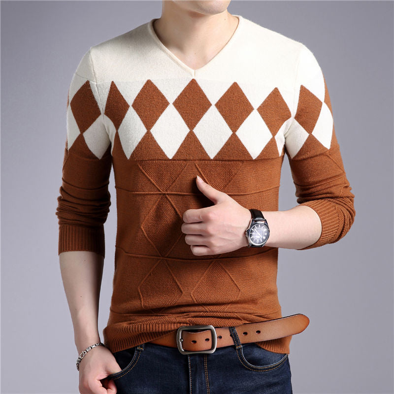 V-Neck Pull Homme Christmas Sweaters